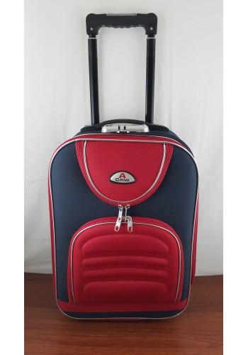 ST 104740 Mалък текстилен авио куфар - размер ''ХS'' в синьо червен цвят - 47/32/20см