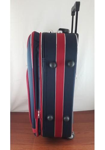 ST 104751 Текстилен куфар с външен механизъм олекотен - малък размер ''S'' в синьо червен цвят