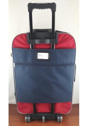 ST 104751 Текстилен куфар с външен механизъм олекотен - голям размер ''L'' в синьо червен цвят