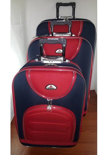 """ST 104701 Комплект тройка текстилни куфари с външен механизъм олекотен - """" S/M/L"""" размери в синьо - червен цвят"""