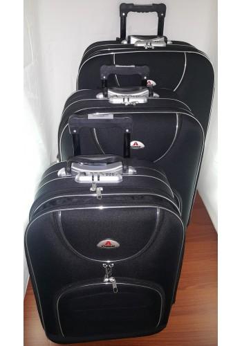 """ST 104702 Комплект тройка текстилни куфари с външен механизъм олекотен - """" S/M/L"""" размери в черно"""
