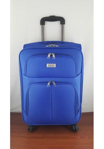 ST 204750 Текстилен куфар LUX с вграден механизъм и метална шина на 4 колела - малък размер ''S'' в синьо 55/37/24см
