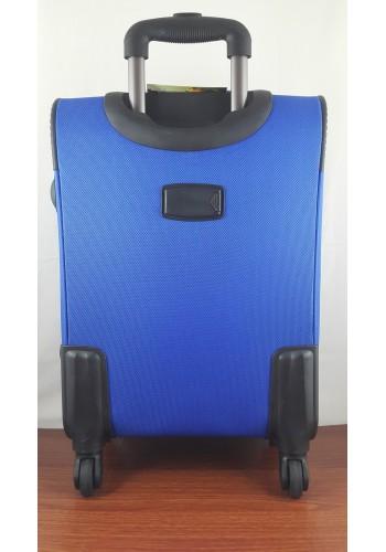 ST 204750 Текстилен куфар LUX с вграден механизъм и метална шина на 4 колела - среден  размер ''M'' в синьо 66/42/28см