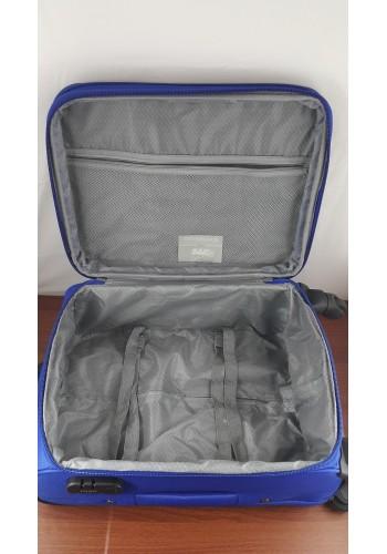 ST 204750 Текстилен куфар LUX с вграден механизъм и метална шина на 4 колела - голям  размер ''L'' в синьо 76/46/30см