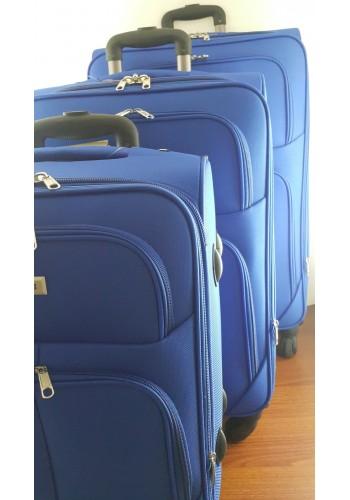"""ST 304750 Комплект тройка текстилни куфари с вграден механизъм и метална шина на 4 колела - """"S/M/L"""" размери в СИНЬО"""