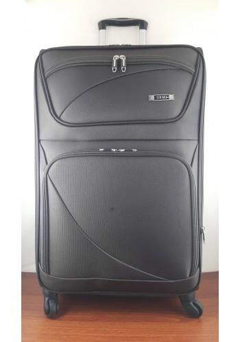 ST 204751 Текстилен куфар LUX с вграден механизъм и метална шина на 4 колела - голям  размер ''L'' в кафяво 76/46/30см