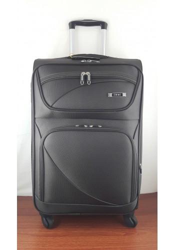 ST 204751 Текстилен куфар LUX с вграден механизъм и метална шина на 4 колела - среден  размер ''M'' в тъмно кафяво 66/42/28см