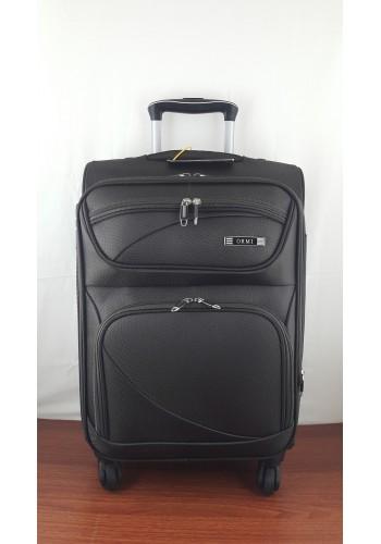 ST 204751 Текстилен куфар LUX с вграден механизъм и метална шина на 4 колела - малък размер ''S'' в тъмно кафяво 55/37/24см