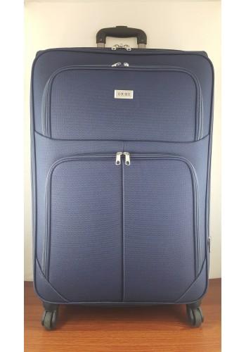 ST 204753 Текстилен куфар LUX с вграден механизъм и метална шина на 4 колела - голям  размер ''L'' в тъмно синьо 76/46/30см
