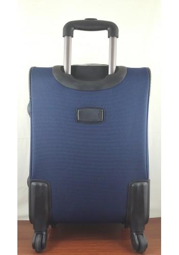 ST 204753 Текстилен куфар LUX с вграден механизъм и метална шина на 4 колела - среден  размер ''M'' във тъмно синьо 66/42/28см