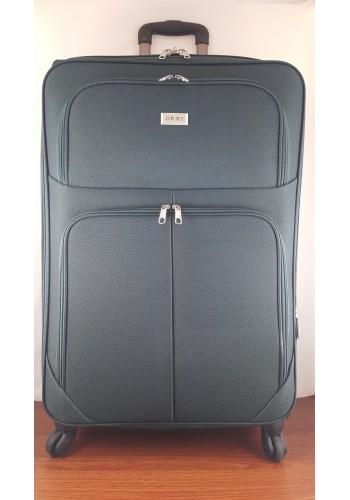 ST 204755 Текстилен куфар LUX с вграден механизъм и метална шина на 4 колела - голям  размер ''L'' в маслено зелено 76/46/30см