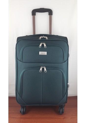 ST 204755 Текстилен куфар LUX с вграден механизъм и метална шина на 4 колела - малък размер ''S'' в маслено зелено 55/37/24см