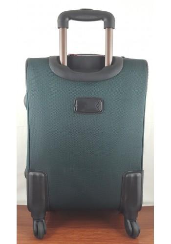 ST 204755 Текстилен куфар LUX с вграден механизъм и метална шина на 4 колела - среден  размер ''M'' във маслено зелено 66/42/28см