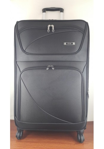 ST 204754 Текстилен куфар LUX с вграден механизъм и метална шина на 4 колела - голям  размер ''L'' в черно 76/46/30см
