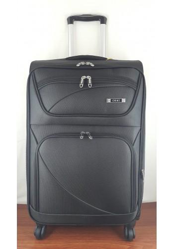 ST 204754 Текстилен куфар LUX с вграден механизъм и метална шина на 4 колела - среден  размер ''M'' във черно 66/42/28см
