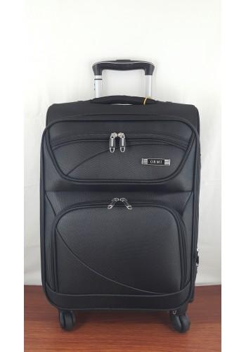 ST 204754 Текстилен куфар LUX с вграден механизъм и метална шина на 4 колела - малък размер ''S'' в черно 55/37/24см