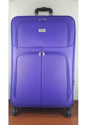 ST 204756 Текстилен куфар LUX с вграден механизъм и метална шина на 4 колела - голям  размер ''L'' в лилаво 76/46/30см