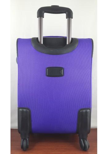 ST 204756 Текстилен куфар LUX с вграден механизъм и метална шина на 4 колела - среден  размер ''M'' в лилаво 66/42/28см