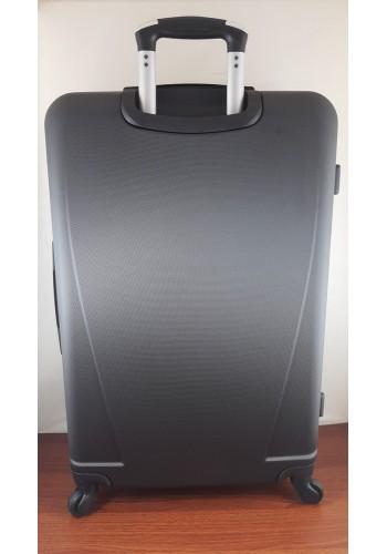 """S 203751 Голям твърд куфар от PVC полимер - """"L"""" размер на 4 колела в Черно 75/46/27см"""