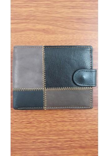 SB 2221  Мъжки портфейл от еко плюс естествена кожа в черно класически
