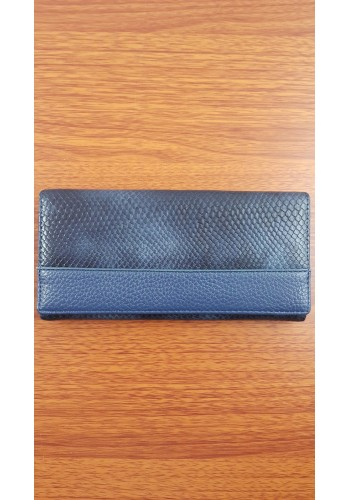 S 388 - Дамски портфейл от висококачествена еко кожа в тъмно синьо с два монетника