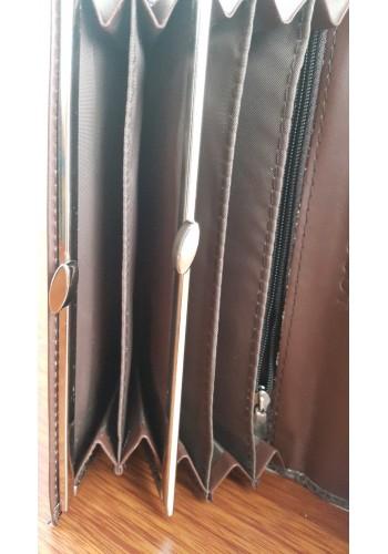 S 388 - Дамски портфейл от висококачествена еко кожа в кафяво с два монетника