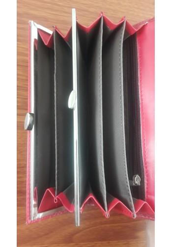 S 388 - Дамски портфейл от висококачествена еко кожа в червено с два монетника