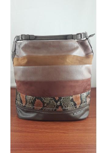 CM 3254 Дамска чанта DAVID JONES от висококачествена еко кожа тип торба в цвят тъмен камел