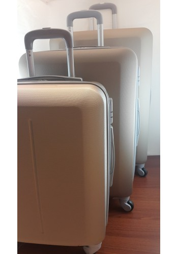 """S 203700 Комплект тройка куфари от PVC полимер """"S/M/L"""" размери на четири колела ЗЛАТИСТО - ШАМПАНСКО"""