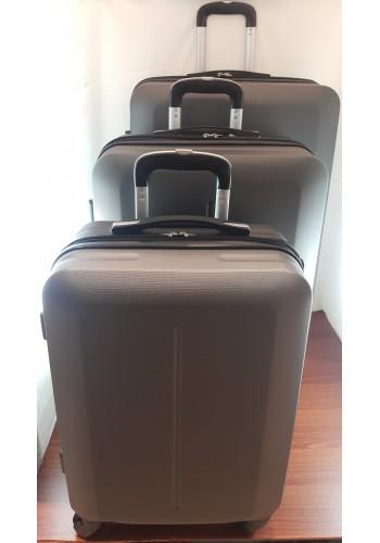 """S 203701 Комплект тройка куфари от PVC полимер """"S/M/L"""" размери на четири колела цвят ГРАФИТ"""