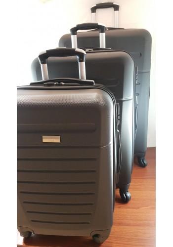 """S 203702 Комплект тройка куфари от PVC полимер """"S/M/L"""" размери на четири колела в ЧЕРНО"""