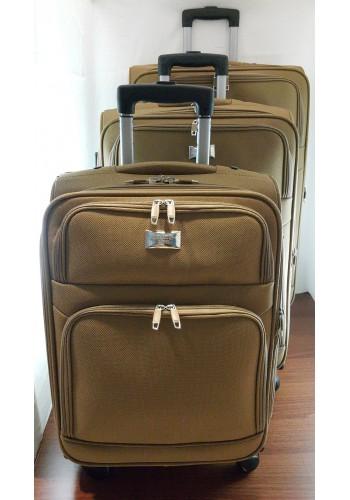 """ST 304757 Комплект тройка текстилни куфари с вграден механизъм и метална шина на 4 колела - """"S/M/L"""" размери в цвят КАМЕЛ"""
