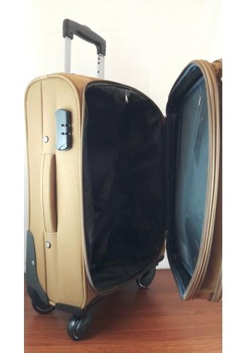 ST 204757 Текстилен куфар LUX с вграден механизъм и метална шина на 4 колела - голям  размер ''L'' в цвят камел 76/46/30 см
