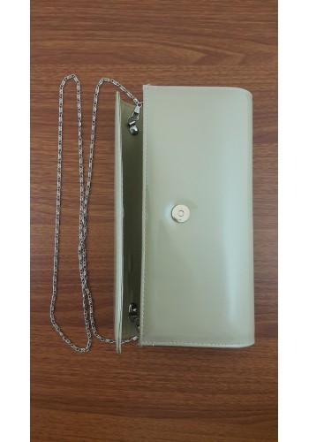 S 10549 Вечерна дамска чанта тип клъч / плик - официална в тъмно бежов лак