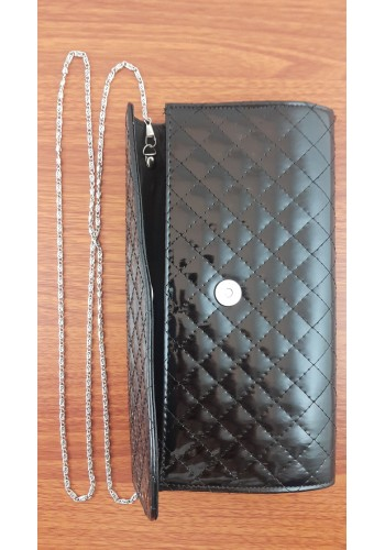 S 10549 Вечерна официална дамска чанта тип клъч / плик - в черен лак с ромбоиден ефект