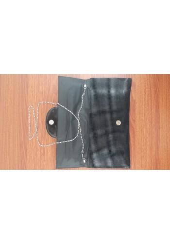 S 10549-3 Вечерна дамска чанта с лазерна обработка от велур и лак в черно