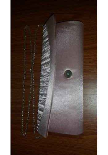 S 10548  Вечерна дамска чанта от сатен в цвят пепел от рози