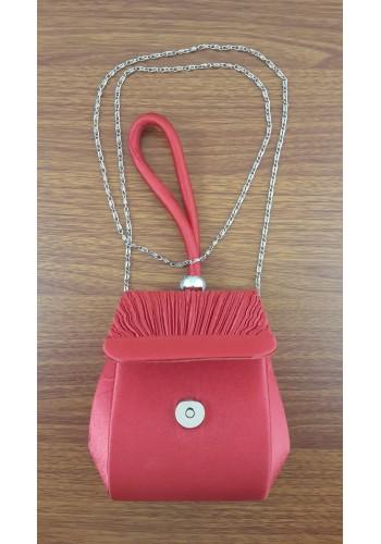 S 10547 Официална вечерна - бална дамска чанта в червен сатен