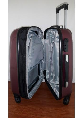 """S 203754-1 Среден твърд куфар от PVC полимер - """"M"""" размер на 4 колела в цвят ВИШНА 65/43/27 см"""