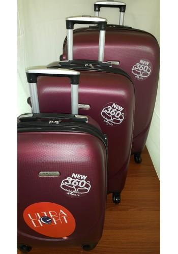 """S 203703 Комплект тройка куфари от PVC полимер """"S/M/L"""" размери на четири колела цвят ВИШНА"""