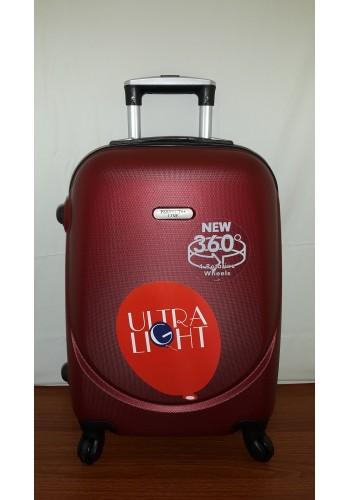 """S 203754 Малък куфар от PVC полимер - """"S"""" размер на 4 колела в цвят БОРДО 55/36/23 см"""