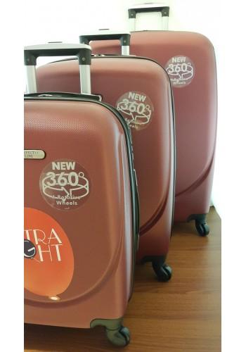 """S 203703 Комплект тройка куфари от PVC полимер """"S/M/L"""" размери на четири колела цвят БОРДО"""