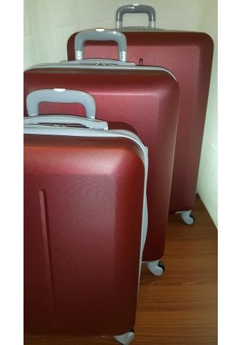"""S 203704 Комплект тройка куфари от PVC полимер """"S/M/L"""" размери на четири колела в цвят БОРДО"""