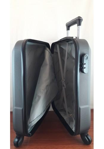 """S 908067 Малък куфар за ръчен багаж от PVC - """"S"""" размер на 4 колела в ЧЕРНО 55/40/20 см"""