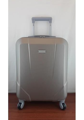 """S 908067 Малък куфар за ръчен багаж от PVC - """"S"""" размер на 4 колела в ЗЛАТИСТО - ШАМПАНСКО 55/40/20 см"""