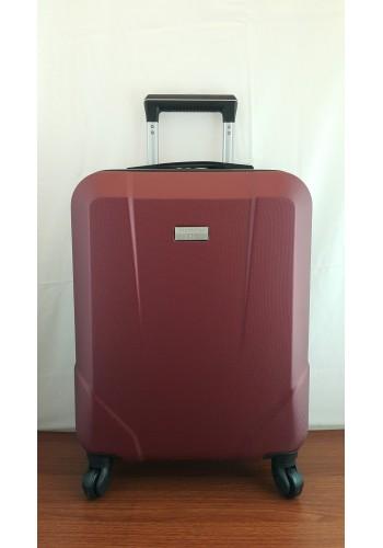 """S 908067 Малък куфар за ръчен багаж от PVC - """"S"""" размер на 4 колела в цвят БОРДО 55/40/20 см"""