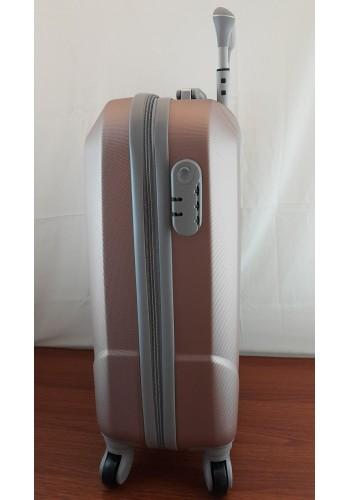 """S 908067 Малък куфар за ръчен багаж от PVC - """"S"""" размер на 4 колела в СВЕТЛО РОЗОВО - ПУДРА 55/40/20 см"""