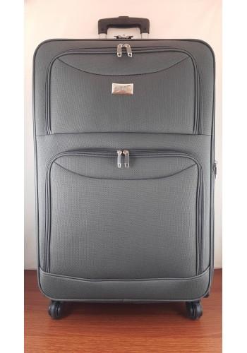 ST 204759 Текстилен куфар LUX с вграден механизъм и метална шина на 4 колела - голям  размер ''L'' в СИВО - ГРАФИТ 76/46/30 см