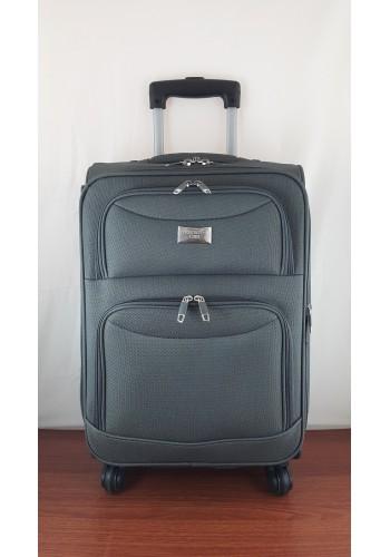 ST 204759 Текстилен куфар LUX с вграден механизъм и метална шина на 4 колела - малък  размер ''S'' във цвят СИВО - ГРАФИТ 56/36/20 см