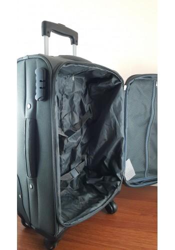 """ST 304759 Комплект тройка текстилни куфари с вграден механизъм и метална шина на 4 колела - """"S/M/L"""" размери в СИВ - ГРАФИТ"""